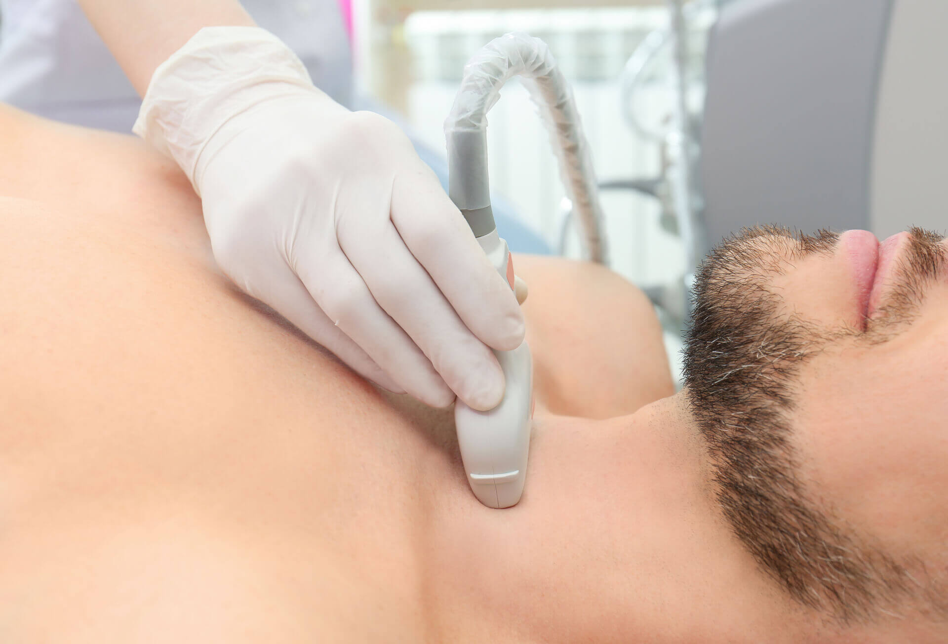 scanning neck with the machine
