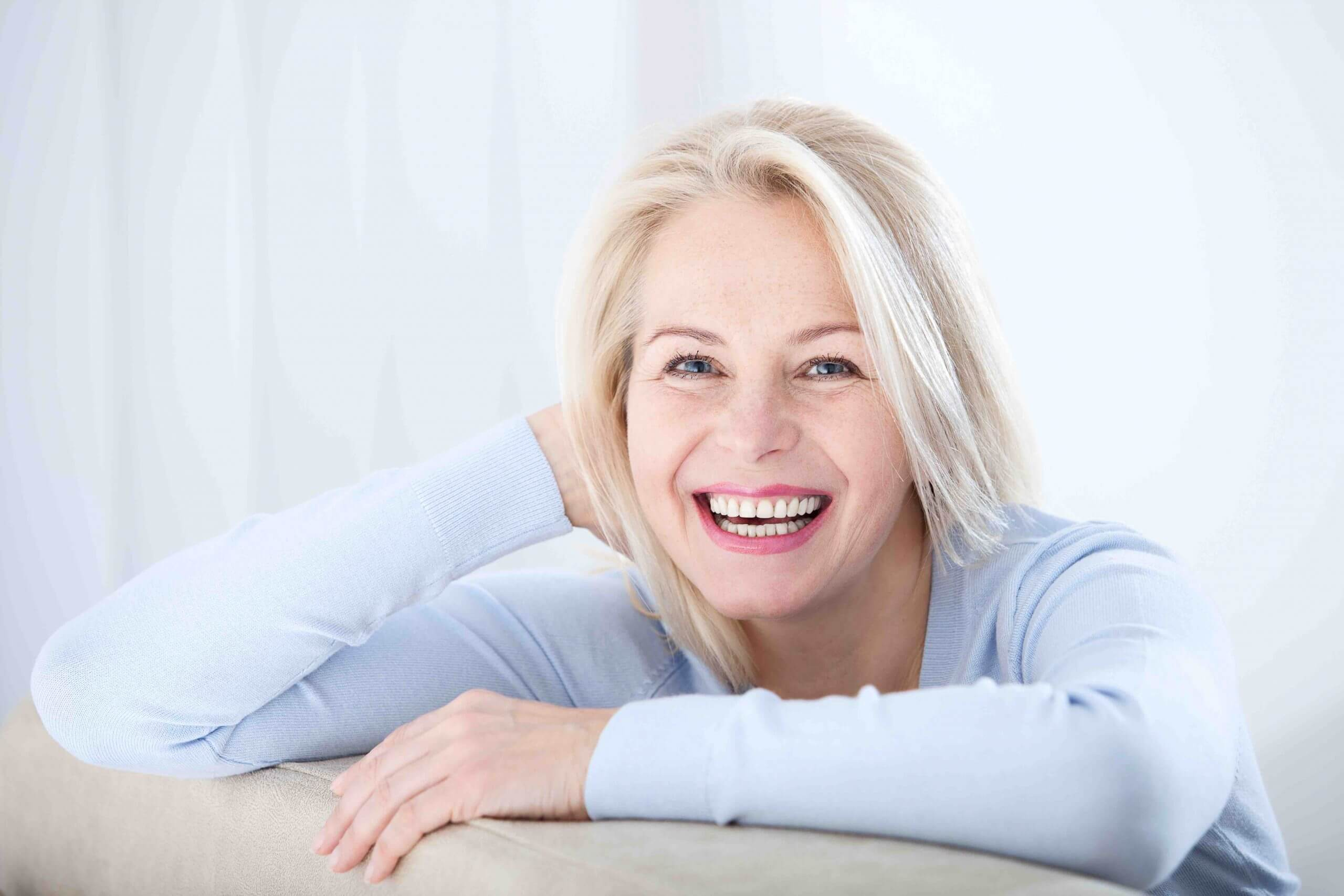blond lady smiling